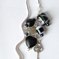 Monochrome Indian Glass Bead Charm Bookmark - Handmade - 10