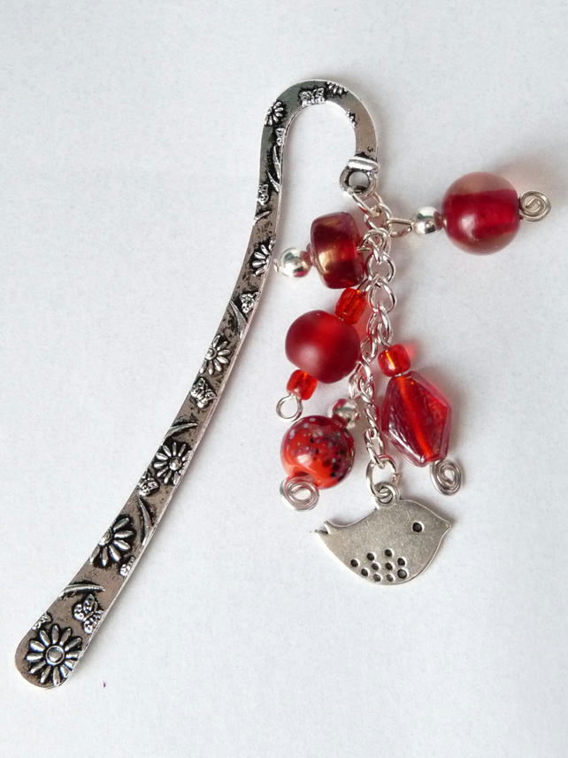 Red Indian Glass Bead Charm Bookmark - Handmade - 12