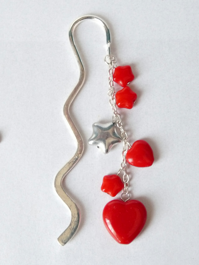 Red Indian Glass Bead Charm Bookmark - Handmade - 13