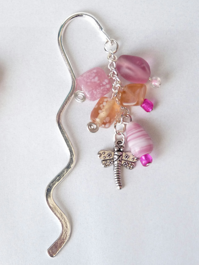 Pink Indian Glass Bead Charm Bookmark - Handmade - 15