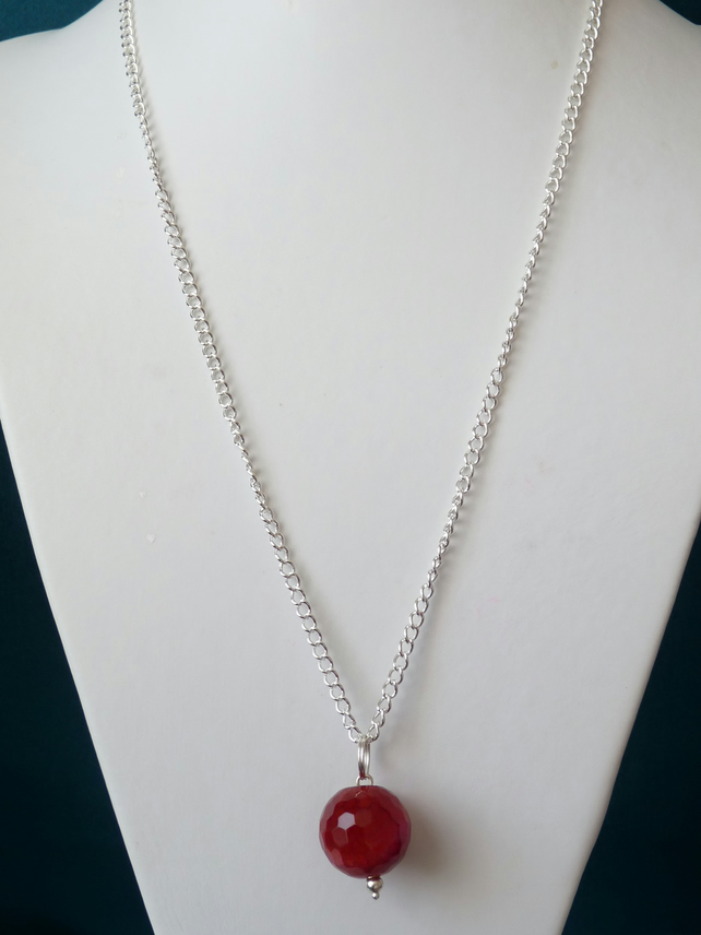 Cherry Red Agate Drop Pendant Necklace - Genuine Gemstone
