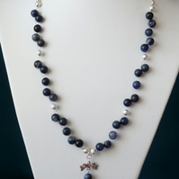 Sodalite Bow Drop Pendant Necklace - Genuine Gemstone