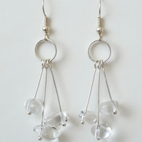 Clear Quartz 3 Drop Earrings- Genuine Gemstone