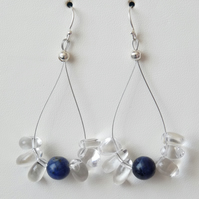 Clear Quartz and Sodalite Drop Earrings- Genuine Gemstone