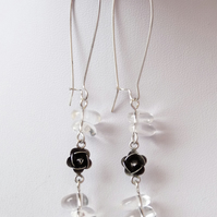 Clear Quartz Flower Drop Earrings- Genuine Gemstone