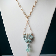 Chalcedony & Larimar Tassel Drop Necklace  - Handmade - Genuine Gemstone