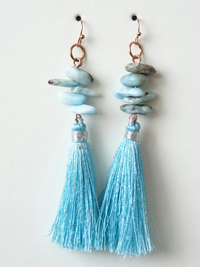 Larimar Tassel Earrings - Handmade - Genuine Gemstone