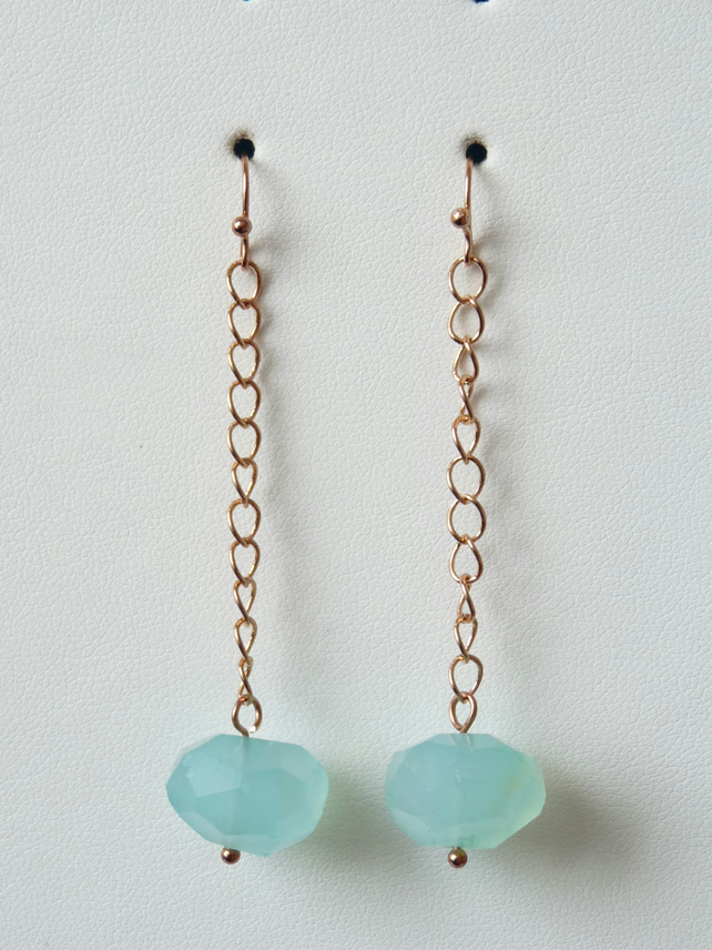 Chalcedony Chain Drop Earrings - Handmade - Genuine Gemstone