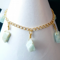 Amazonite Charm Drop Bracelet - Genuine Gemstone