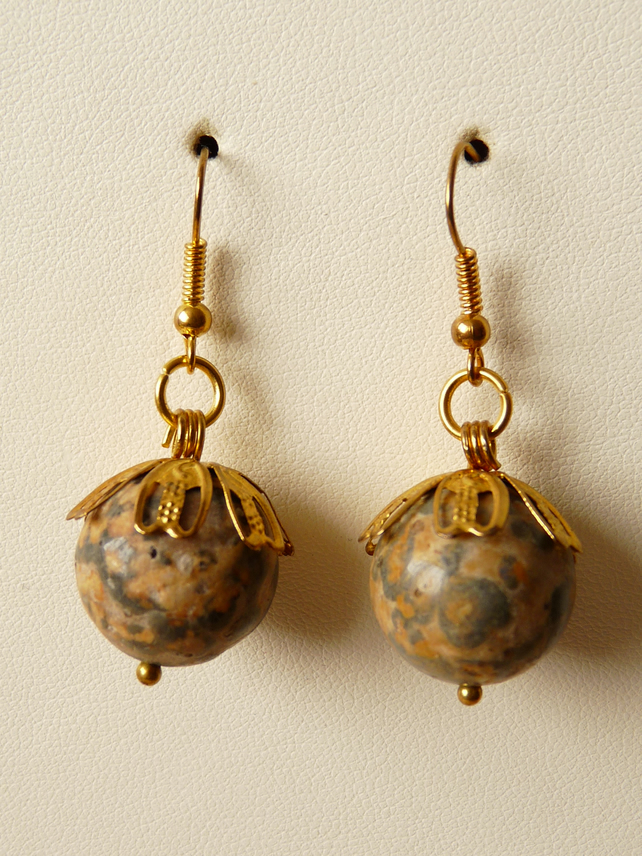Leopard Jasper Earrings - Genuine Gemstone