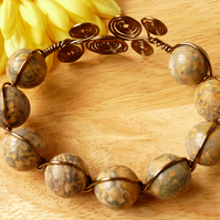 Leopard Jasper Wire Wrapped Bracelet - Genuine Gemstone