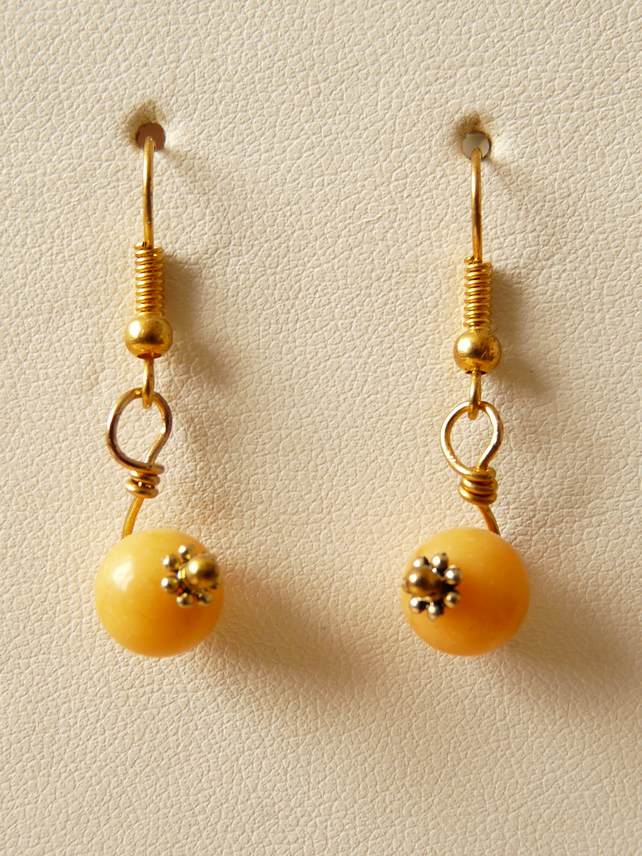 Yellow Quartzite Earrings - Genuine Gemstone