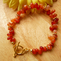 Carnelian Irregular Nugget Bracelet - Genuine Gemstone