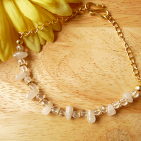 White Agate& Clear Quartz Irregular Nugget Bracelet - Genuine Gemstone
