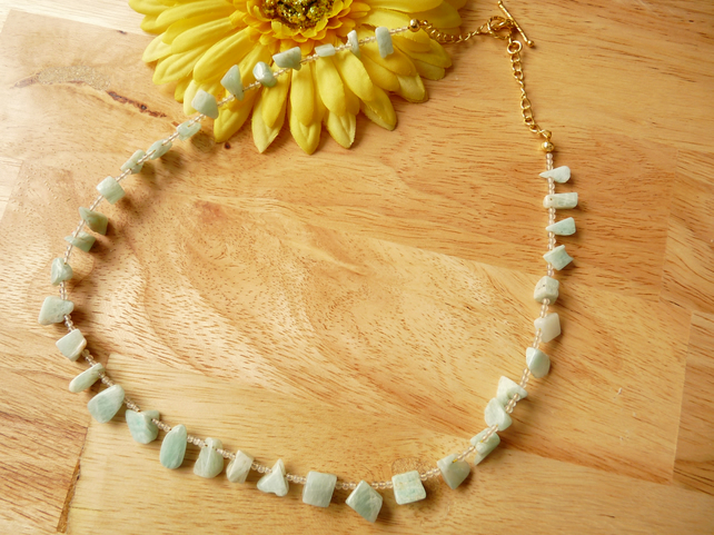 Amazonite & Rose Quartz Necklace - Genuine Gemstone