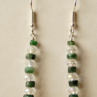 Emerald & Clear Swarovski Crystal Drop Earrings - Genuine Gemstone