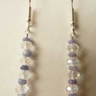 Tanzanite & Clear Swarovski Crystal Drop Earrings - Genuine Gemstone