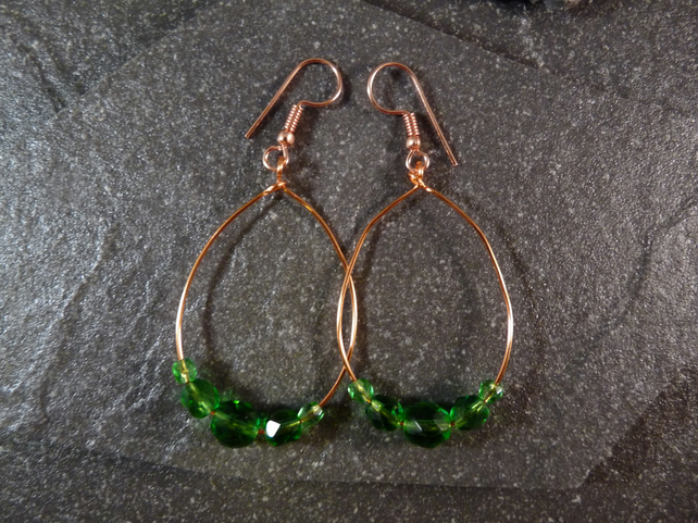 Large Hoop Earrings - Green Faceted Glass - 40mm - Copper