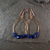 Large Hoop Earrings - Sapphire Blue Faceted Glass - 40mm - Copper