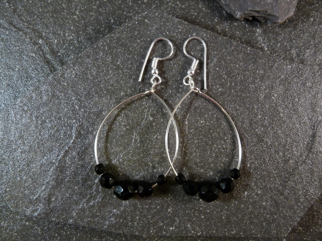 Large Hoop Earrings - Jet Black Faceted Glass - 40mm - Sliver Colour