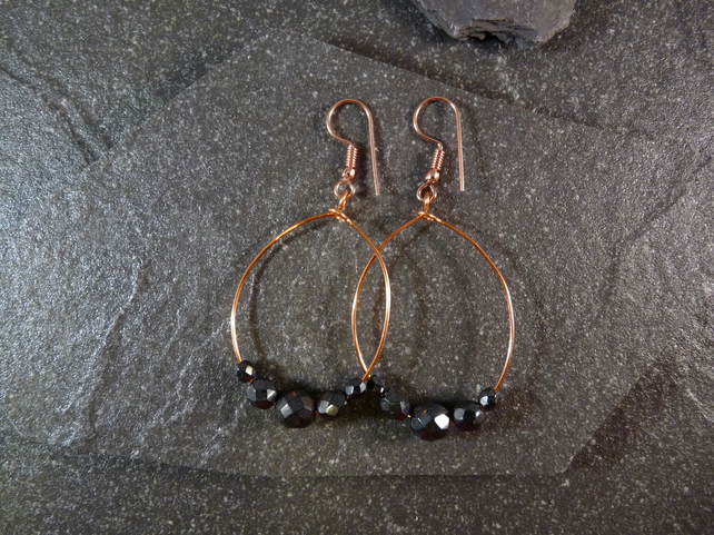 Large Hoop Earrings - Haematite Faceted Glass - 40mm - Copper