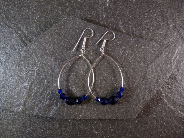 Large Hoop Earrings - Midnight Blue Faceted Glass - 40mm - Sliver Colour