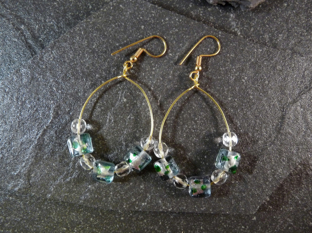 Large Hoop Earrings - Green Speckled Foiled Glass Bead - 40mm - Gold Colour