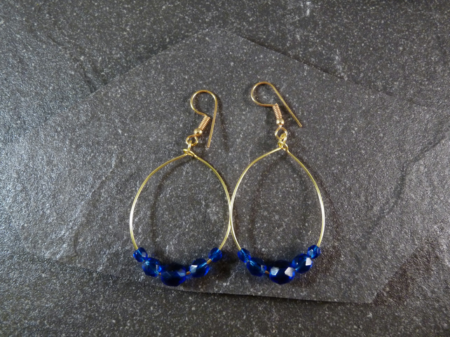 Large Hoop Earrings - Sapphire Blue Faceted Glass - 40mm - Gold Colour