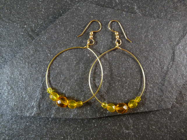 Large Round Hoop Earrings - Sunshine Yellow Faceted Glass - 40mm - Gold Colour
