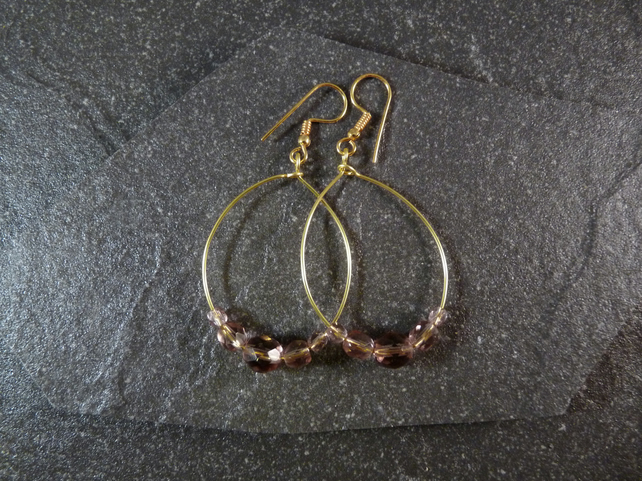 Large Hoop Earrings - Lavender Faceted Glass - 40mm - Gold Colour