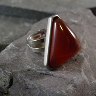 Red Carnelian Triangular Adjustable Ring