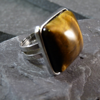Yellow Tiger's Eye Square Adjustable Ring