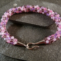 Pink & Purple Kumihimo Bracelet - Silver Copper Clasp