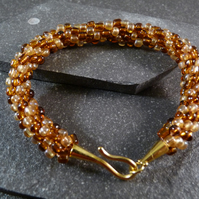 Brown & Gold Kumihimo Bracelet - Yellow Gold Copper Clasp