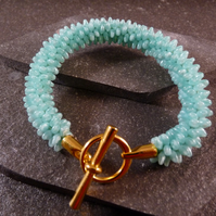 Mint Green Kumihimo Bracelet - Yellow Gold Copper Clasp