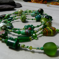 Long Length Green Beaded Boho Festival Necklace
