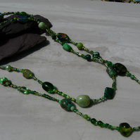 Green Long Length Beaded Boho Festival Necklace