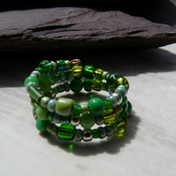 Green Memory Wire Ring, Beaded Boho Festival Ring