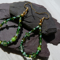 Green Beaded Hoop Earrings, Boho Festival Earrings
