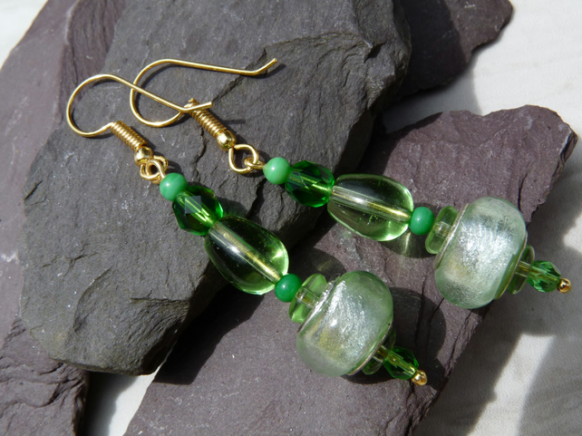 Green Glass Beaded Earrings, Boho Festival Charm Earrings