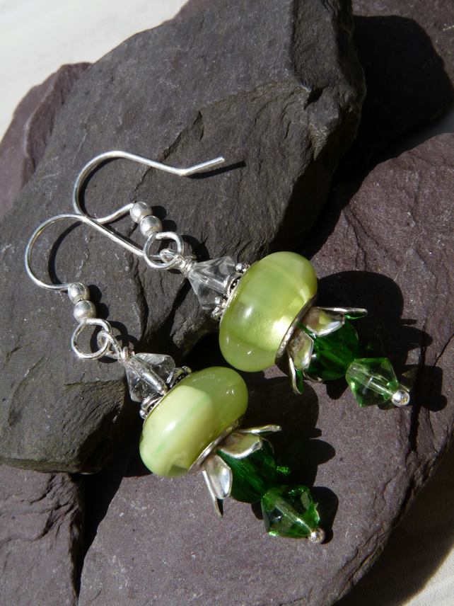 Green Glass Flower Beaded Earrings, Boho Festival Charm Earrings