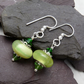 Green Glass Charm Bead Beaded Earrings, Boho Festival Charm Earrings
