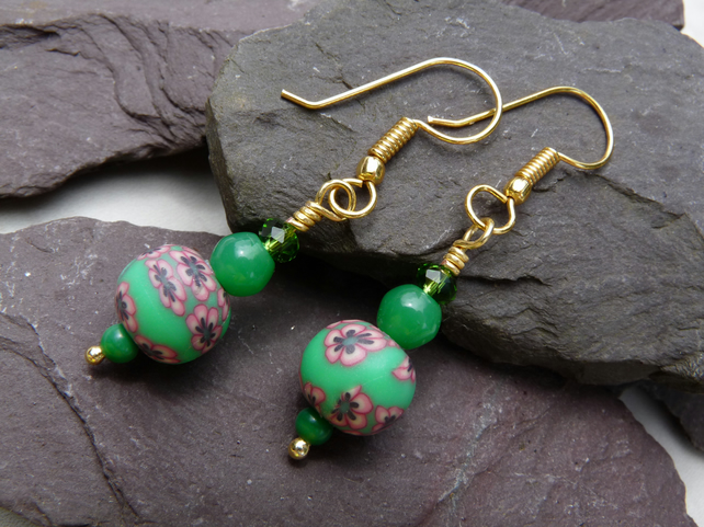 Green & Pink Flower Polymer Clay Beaded Earrings, Boho Festival Earrings