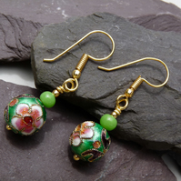 Green Cloisonne Flower Beaded Earrings, Boho Festival Earrings