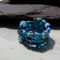 Blue Memory Wire Ring, Beaded Boho Festival Ring