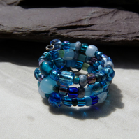 Blue Beaded Memory Wire Ring, Boho Festival Ring