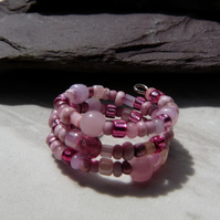 Pink Memory Wire Ring, Beaded Boho Festival Ring