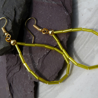 Yellow Bugle Bead Hoop Earrings, Boho Festival Earrings