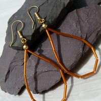Orange Bugle Bead Hoop Earrings, Boho Festival Earrings