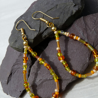 Yellow & Orange Beaded Hoop Earrings, Boho Festival Earrings